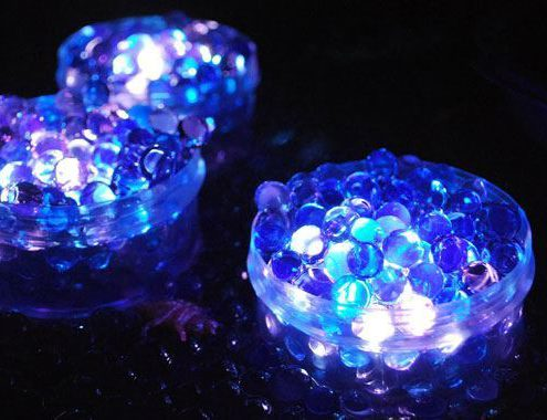 lights shining on water beads
